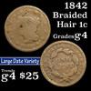 1842 Braided Hair Large Cent 1c Grades g, good