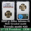 2007-p John Adams Presidential Dollar $1 Graded Brilliant Unc (BU) by NGC