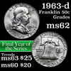1963-d Franklin Half Dollar 50c Grades Select Unc