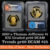 2007-s Jefferson Proof Presidential Dollar $1 Graded pr69 DCAM By ICG