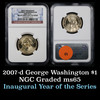 NGC 2007-D GEORGE WASHINGTON Presidential Dollar $1 Graded ms65 by NGC