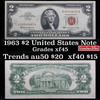 1963 $2 Red seal United States note Grades xf+