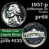 1957-p Jefferson Nickel 5c Grades GEM++ Proof