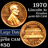 1970 lg date Lincoln Cent 1c Grades Gem ++ Proof Red Cameo
