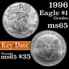 1996 Silver Eagle Dollar $1 Grades GEM Unc