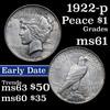 1922-p Peace Dollar $1 Grades BU+
