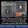 1999-s Pennsylvania Washington Quarter 25c Graded pr69 dcam By ICG