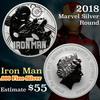 2018 Iron Man Marvel Silver Round .99 Fine Silver 1oz Marvel Silver Round $1 Grades ms70, Perfection