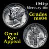 1941-p Mercury Dime 10c Grades Choice Unc