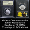 1982-s George Washington Silver Proof Commemorative 50c Graded PR70 DCAM