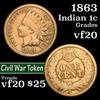 1863 Indian Cent 1c Grades vf, very fine