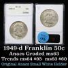 ANACS 1949-d Franklin Half Dollar 50c Graded ms63 by ANACS