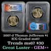 2007-d Jefferson Presidential Dollar $1 Graded ms67 by ICG