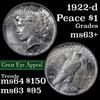 1922-d Peace Dollar $1 Grades Select+ Unc