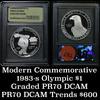 1983-s Olympic Proof Silver Dollar Commemorative graded PR70 DCAM