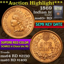 1869 Indian Cent 1c Graded Select+ Unc RD by USCG