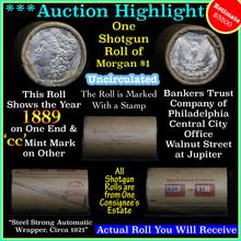 Unc Morgan $1 Shotgun Roll w/1889 & cc mint ends