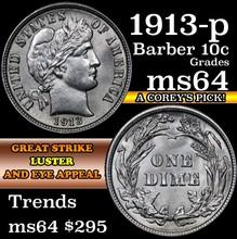 1913-p Barber Dime 10c Grades Choice Unc (fc)