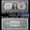 1957 $1 Blue Seal Silver Certificate Grades xf+