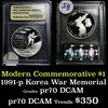 1991-P Korean War Modern Commem Dollar $1 Graded GEM++ Proof Deep Cameo By USCG