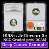 NGC 1998-s Jefferson Nickel 5c Graded Gem++ Proof Deep Cameo By NGC