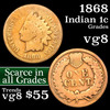 1868 Indian Cent 1c Grades vg, very good