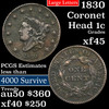 1830 Coronet Head Large Cent 1c Grades xf+