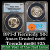 ANACS 1971-d Kennedy Half Dollar 50c Graded Gem+ By ANACS