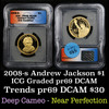 2008-s Jackson Proof Presidential Dollar $1 Graded pr69 DCAM by ICG