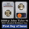 NGC 2009-p John Tyler Presidential Dollar $1 Graded Gem By NGC