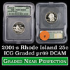 2001-s Rhode Island Washington Quarter 25c Graded Gem++ Proof Deep Cameo By ICG