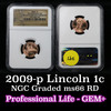 NGC 2009-p Professional Life Lincoln Cent 1c Graded ms66 rd By NGC
