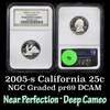 NGC 2005-s California Washington Quarter 25c Graded pr69 dcam By NGC
