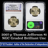 NGC 2007-p Thomas Jefferson Presidential Dollar $1 Graded ms65 By NGC