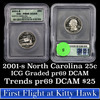 2001-s North Carolina Washington Quarter 25c Graded pr69 dcam By ICG