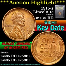 1915-s Lincoln Cent 1c Graded GEM Unc RD by USCG