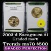 2003-d Sacagawea Golden Dollar $1 Graded Gem++ Unc By HCGS