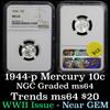 NGC 1944-p Mercury Dime 10c Graded ms64 by NGC