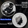 2018 Black Panther Marvel Silver Round .999 fine silver 1 oz Silver Round .999 Fine 1 oz. Grades