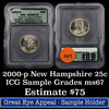2000-p New Hampshire Washington Quarter 25c Graded ms60 By ICG