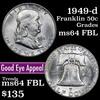 1949-d Franklin Half Dollar 50c Grades Choice Unc FBL