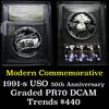1991-S USO Modern Commem Dollar $1 Graded GEM++ Proof Deep Cameo By USCG