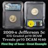 2009-s Jefferson Nickel 5c Graded pr70 dcam By ICG