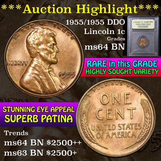 ***Auction Highlight*** 1955/1955 DDO Lincoln Cent 1c Graded Choice Unc BN by USCG (fc)