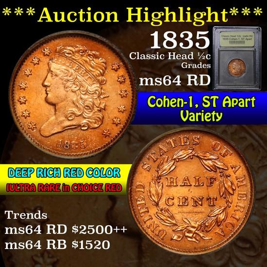 ***Auction Highlight*** 1835 Cohen-1, ST Apart Classic Head 1/2c Graded Choice Unc RD by USCG (fc)