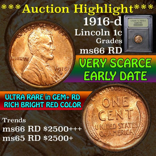 ***Auction Highlight*** 1916-d Lincoln Cent 1c Graded GEM+ Unc RD by USCG (fc)