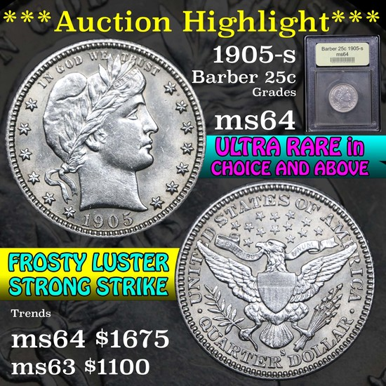 ***Auction Highlight*** 1905-s Barber Quarter 25c Graded Choice Unc by USCG (fc)