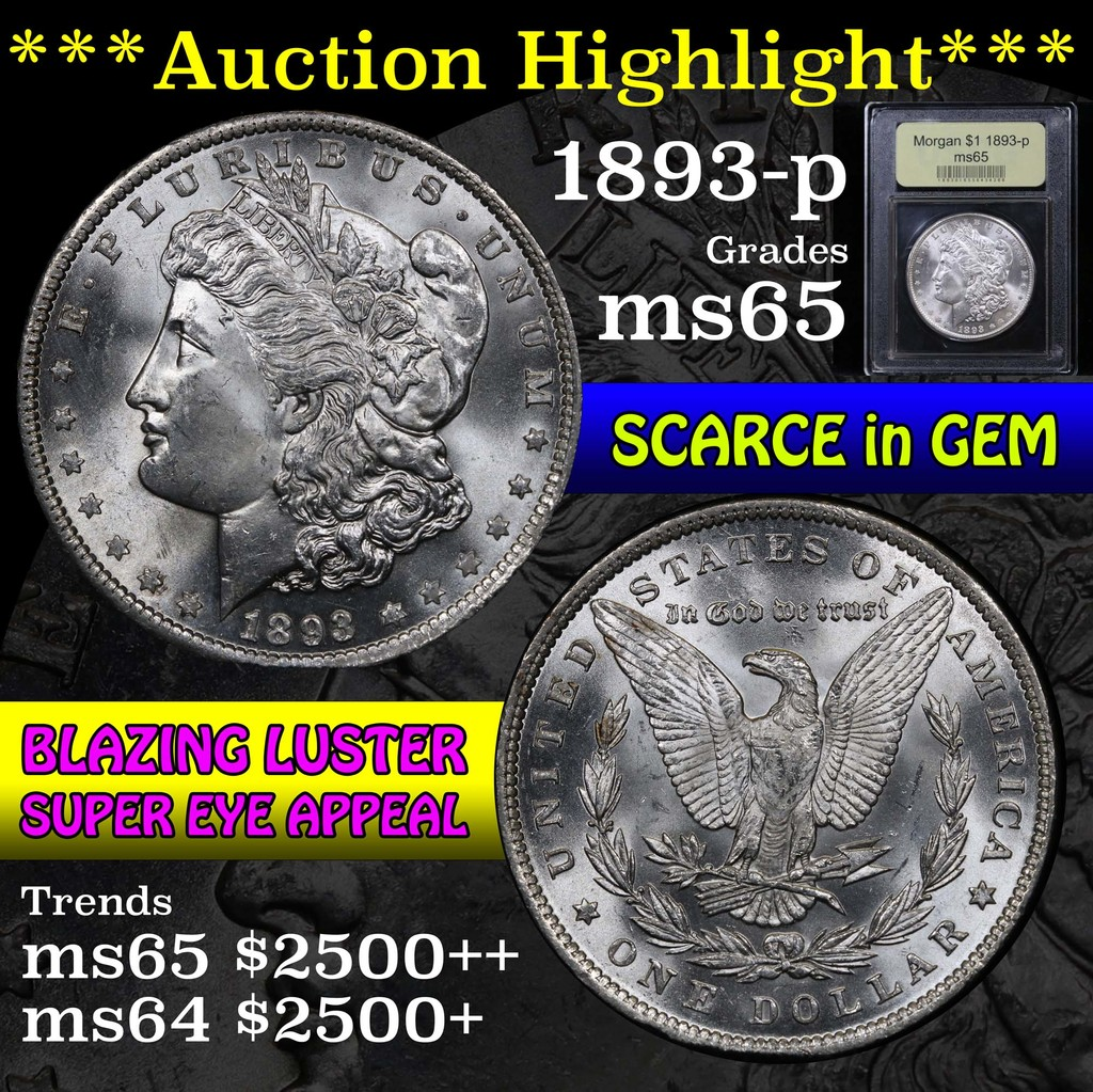 ***Auction Highlight*** 1893-p Morgan Dollar $1 Graded GEM Unc by USCG (fc)