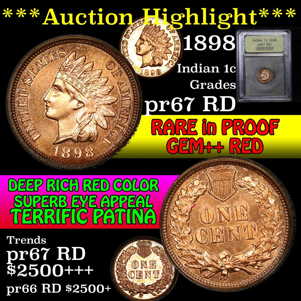 ***Auction Highlight*** 1898 Indian Cent 1c Graded Gem++ Proof Red by USCG (fc)