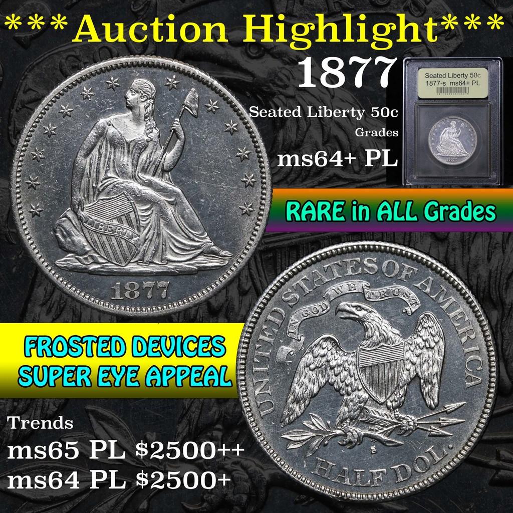 ***Auction Highlight*** 1877-s Seated Half Dollar 50c Graded Choice Unc+ PL by USCG (fc)